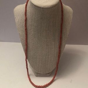 Vintage coral bead long necklace